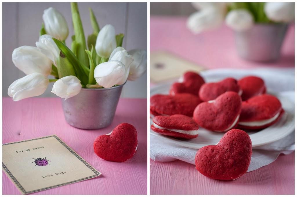Herz Red Velvet Whoopie Pies Valentinstag Valentines Day Birds Like Cake