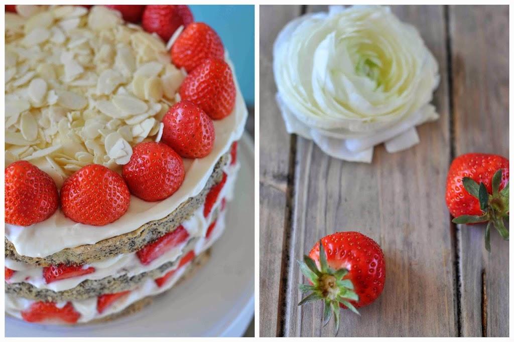 Mohn Erdbeer Törtchen Torte Quark Sahne Mandeln Sommer Lecker Rezept einfach Kuchen
