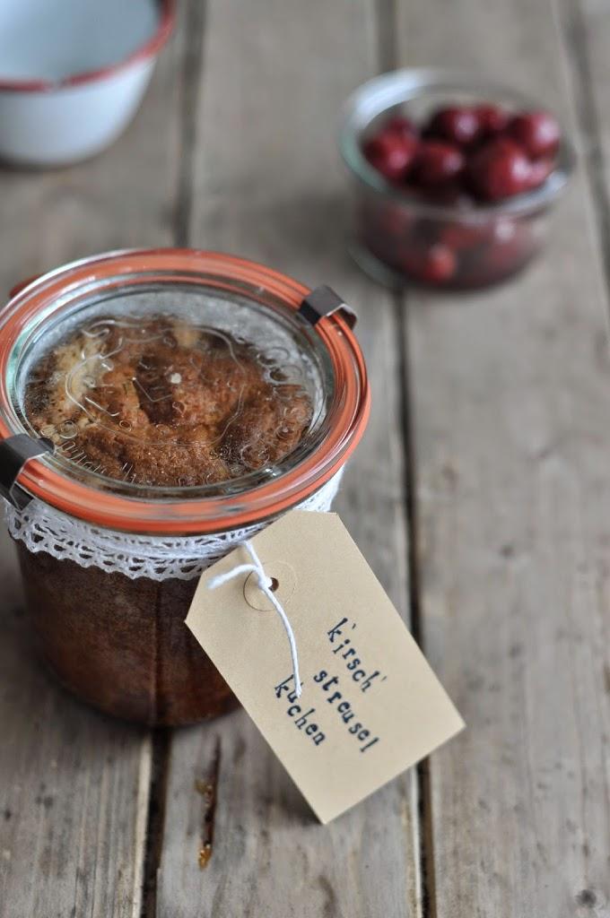 Streuselkuchen Kirschen Zimt Backen Weckglas Kuchen im Glas Kuchen verschicken Post